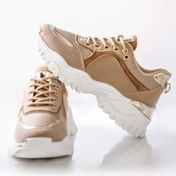 Sneaker με μεταλλική λεπτομέρεια - Μπεζ