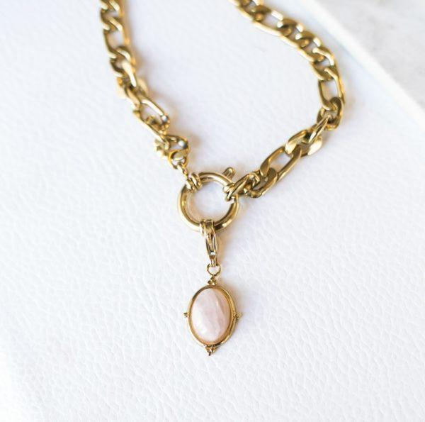 Χοντρή αλυσίδα με κρίκο και ροζ πέτρα