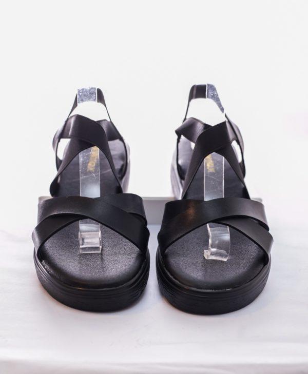 Flatforms με λάστιχο χιαστή-Μαύρο