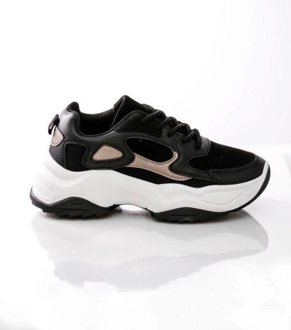 Μαύρα Chunky sneakers με συνδυασμό υλικών