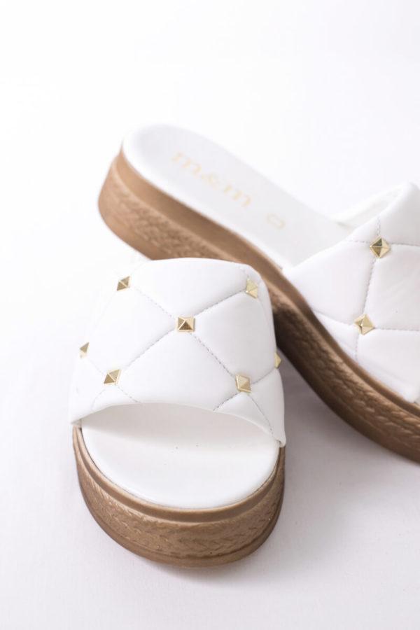 Flatform παντόφλα καπιτονέ με χρυσά τρουξ - Άσπρο