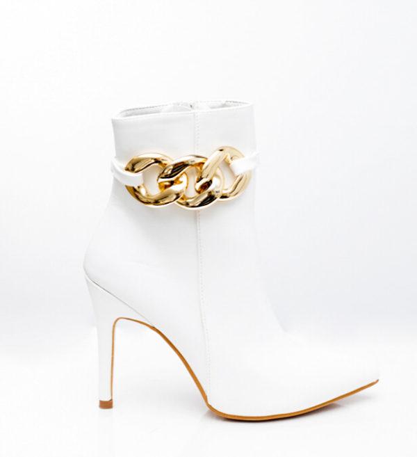 Μυτερό μποτάκι με χρυσή αποσπώμενη αλυσίδα - Λευκό
