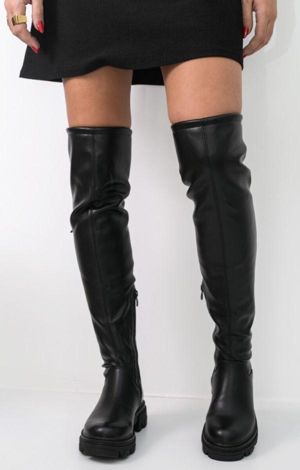 Mπότα κάλτσα πάνω από το γόνατο - Μαύρο
