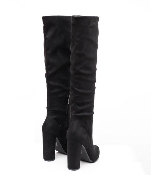 Μυτερές Suede μπότες - Μαύρο