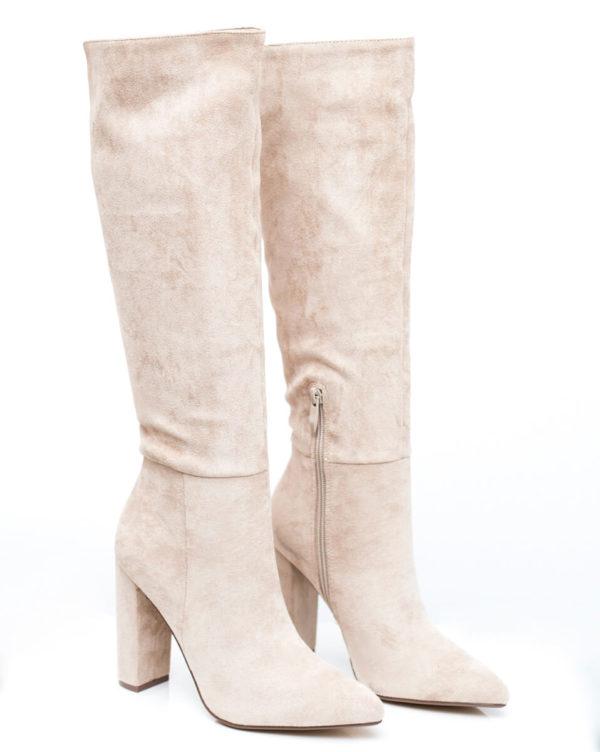 Μυτερές Suede μπότες - Cream