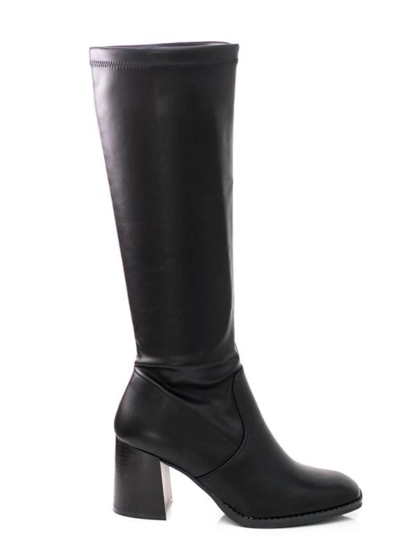 Ελαστική μπότα με τετράγωνο τακούνι- Μαύρο