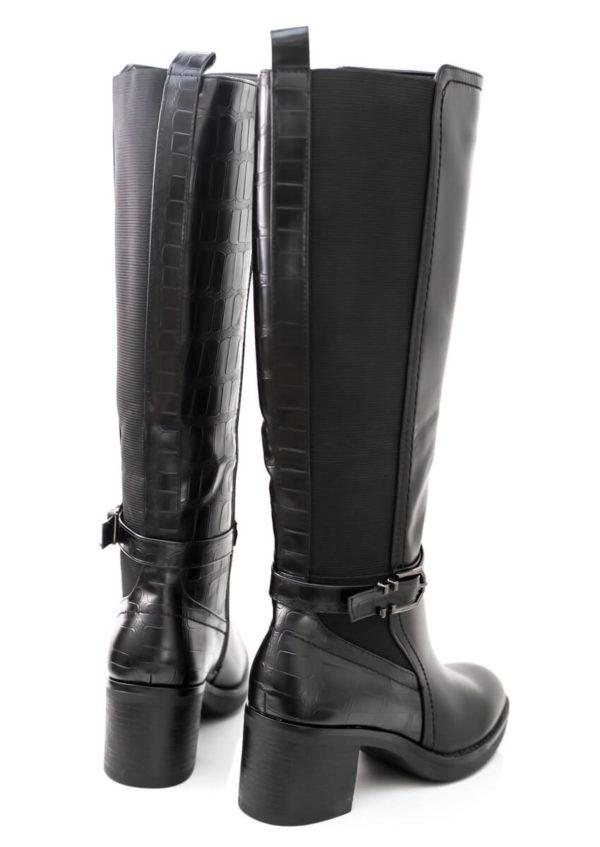 Mπότα με τετράγωνο τακούνι και λάστιχο - Μαύρο