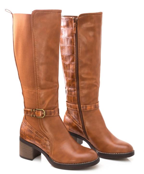 Mπότα με τετράγωνο τακούνι και λάστιχο - Κάμελ