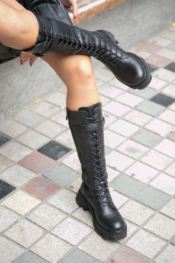 Mπότα με κορδόνια - Μαύρο