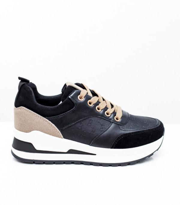 Sneakers με συνδυασμό υλικών - Μαύρο
