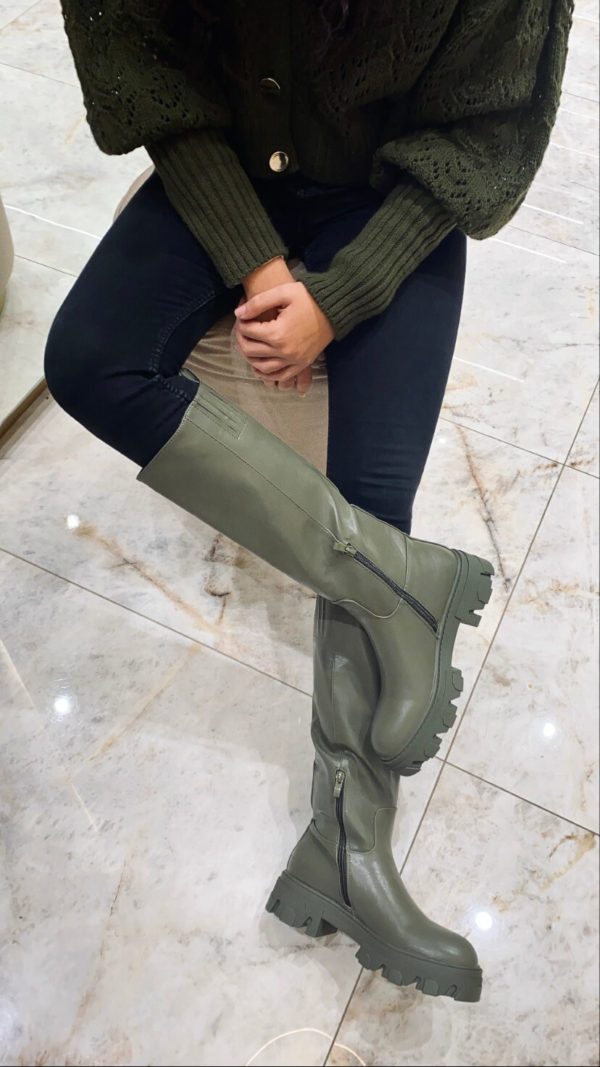 Μπότα casual με τρακτερωτή σόλα - Χακί
